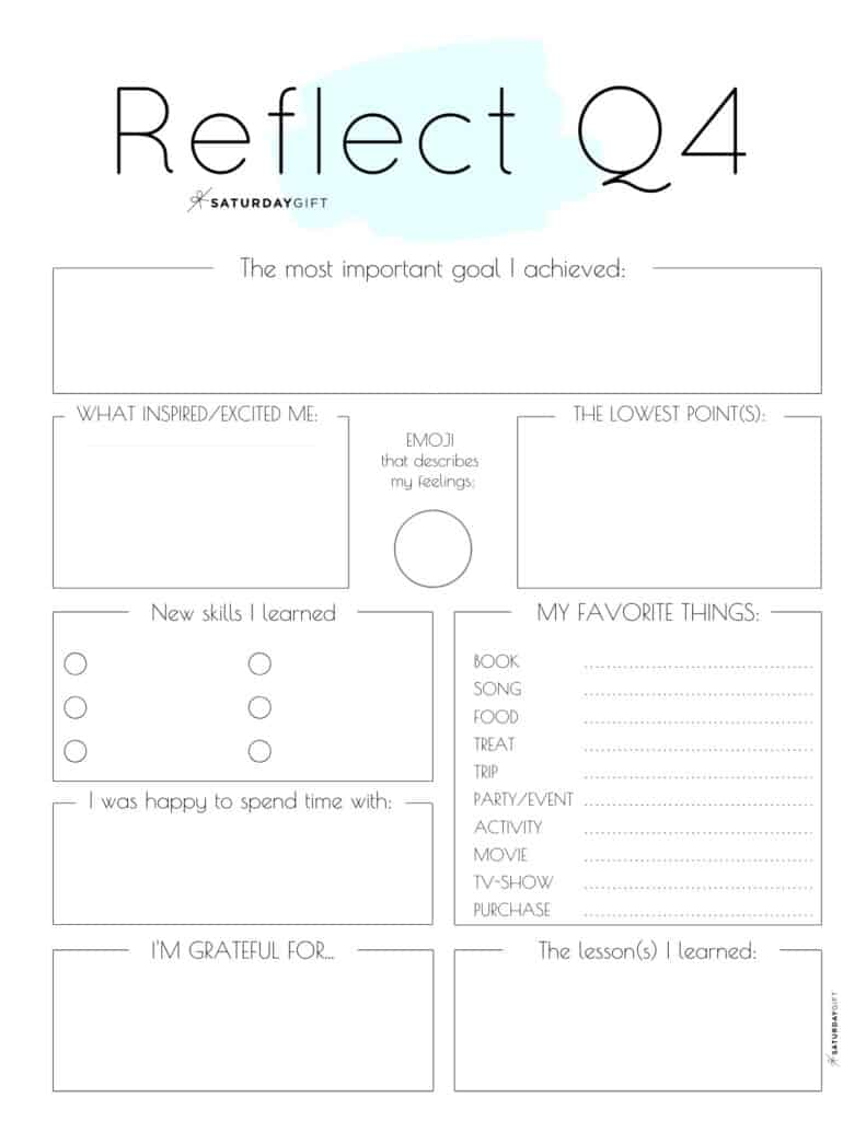 Blue printable reflection worksheet for Q4