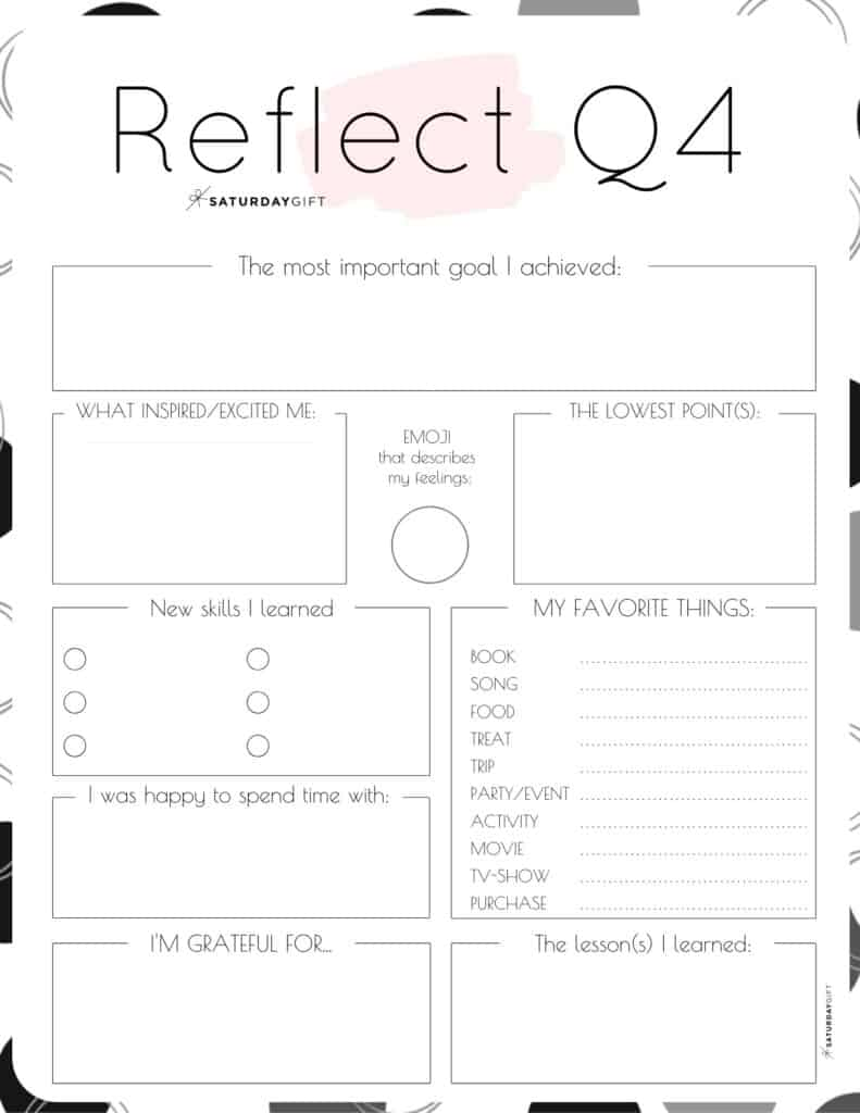 Pink printable reflection worksheet for Q4