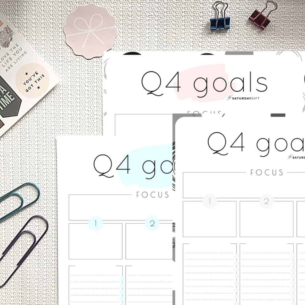 Pink, blue and black&white Q4 goals worksheets