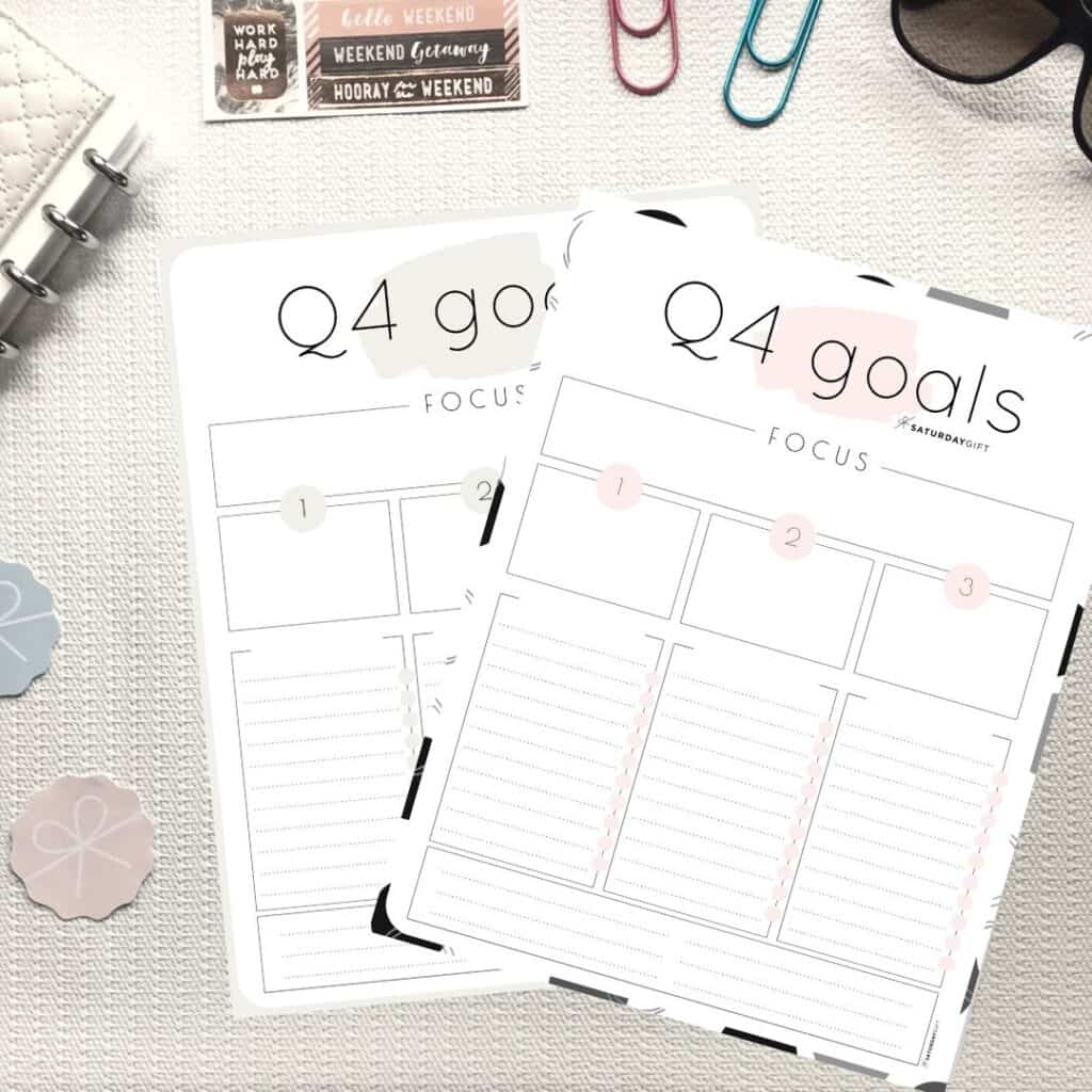 Pink and Beige Q4 goals worksheets
