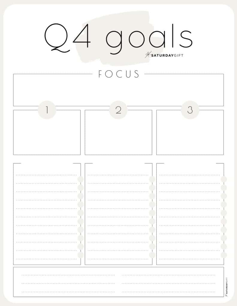 Beige Q4 goals worksheet {Free Printable}