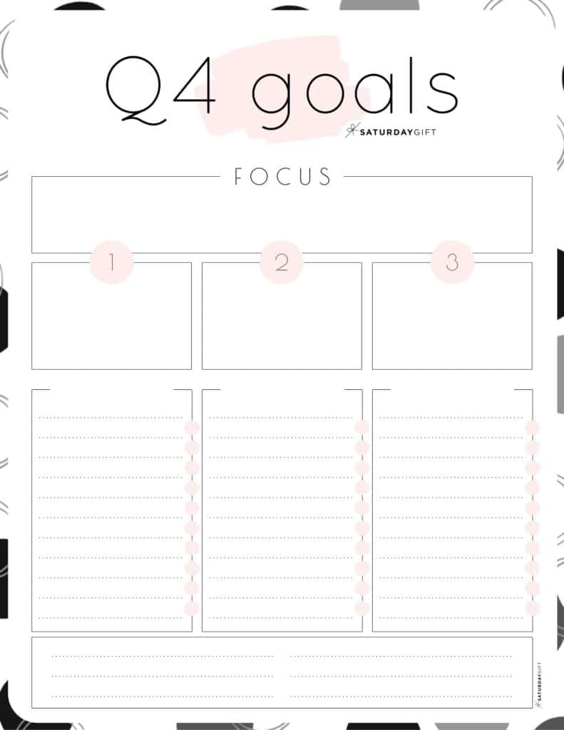 Pink Q4 goals worksheet {Free Printable}