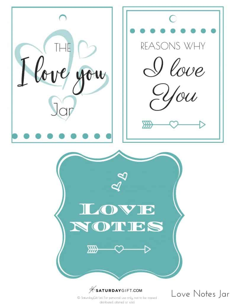 Reasons I love you jar - blue labels - Free printables PDF