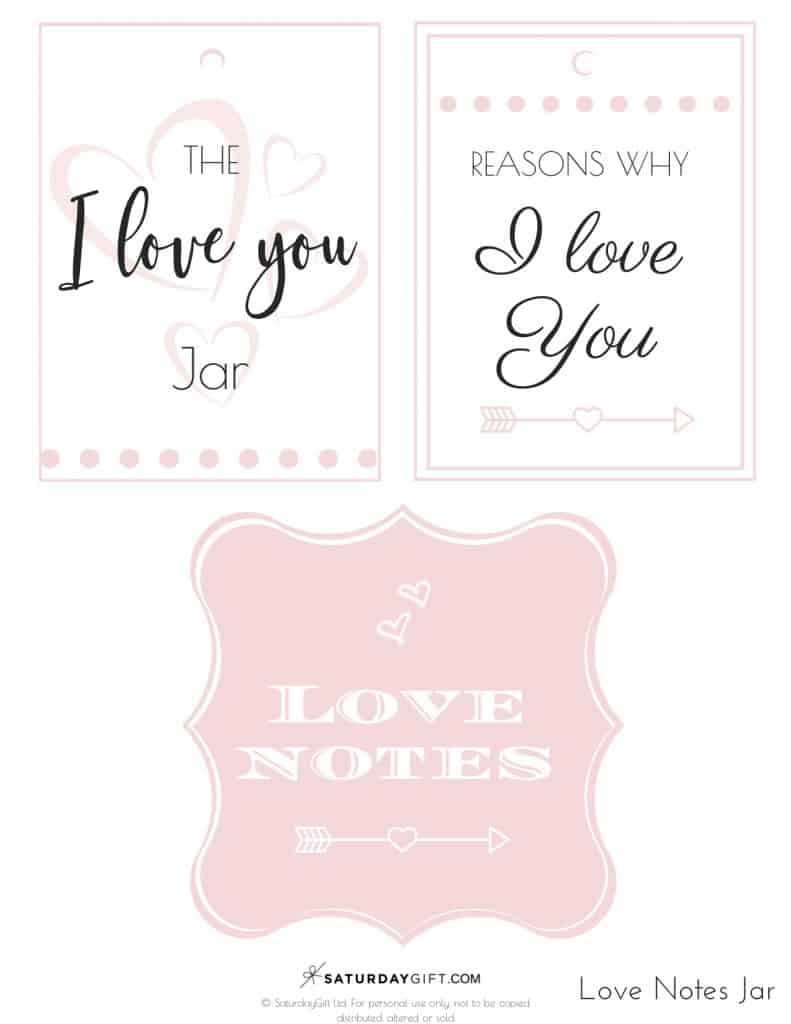 Reasons I love you jar - pink labels - Free printables PDF