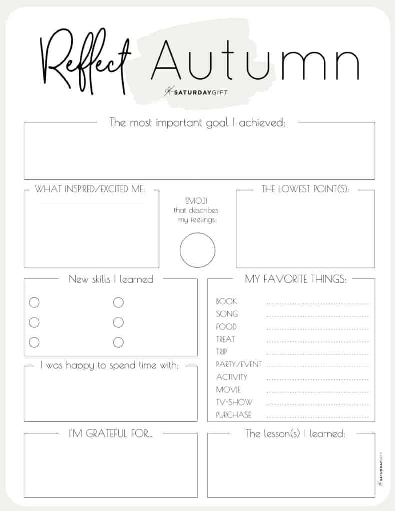 Beige autumn reflection worksheet