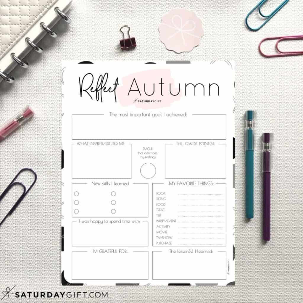 Pink reflection worksheets for autumn