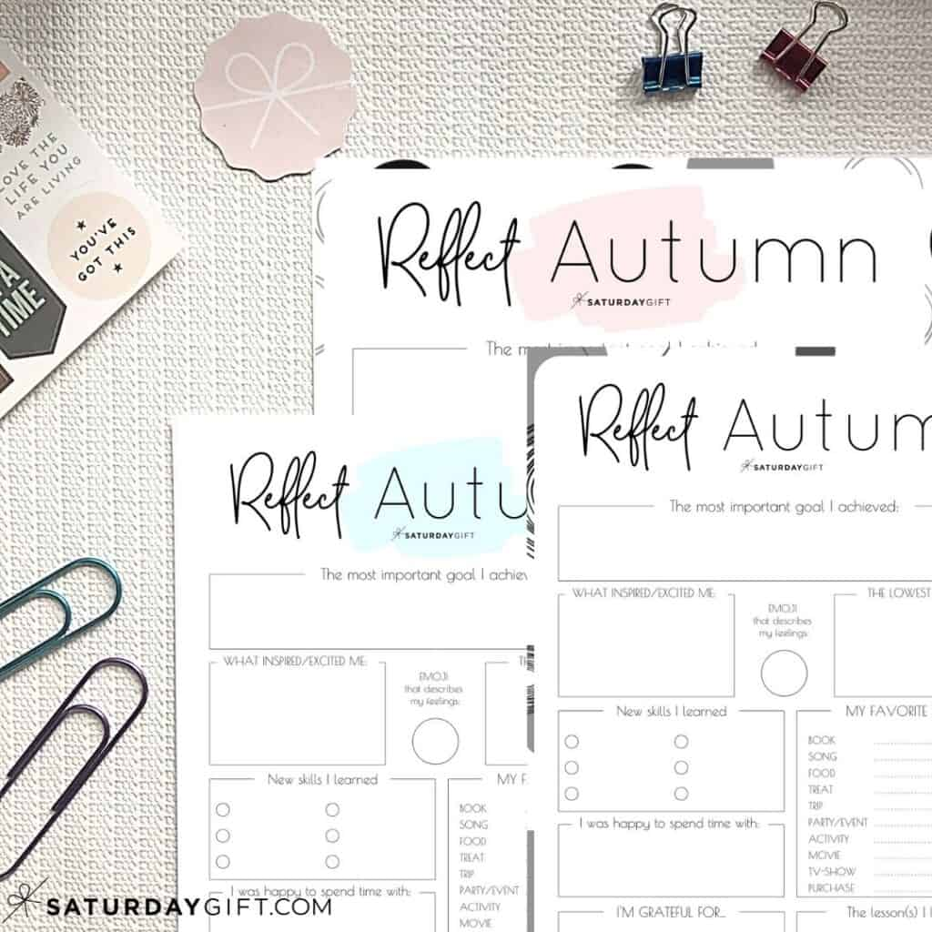 Pink, blue and black&white reflection worksheets for autumn