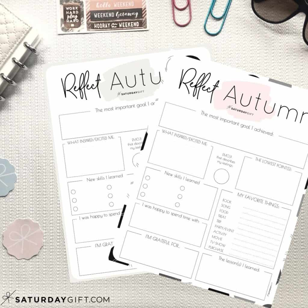 Pink and beige reflection worksheets for autumn