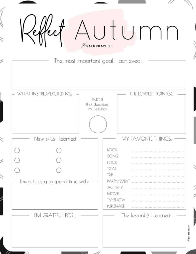 Pink autumn reflection worksheet