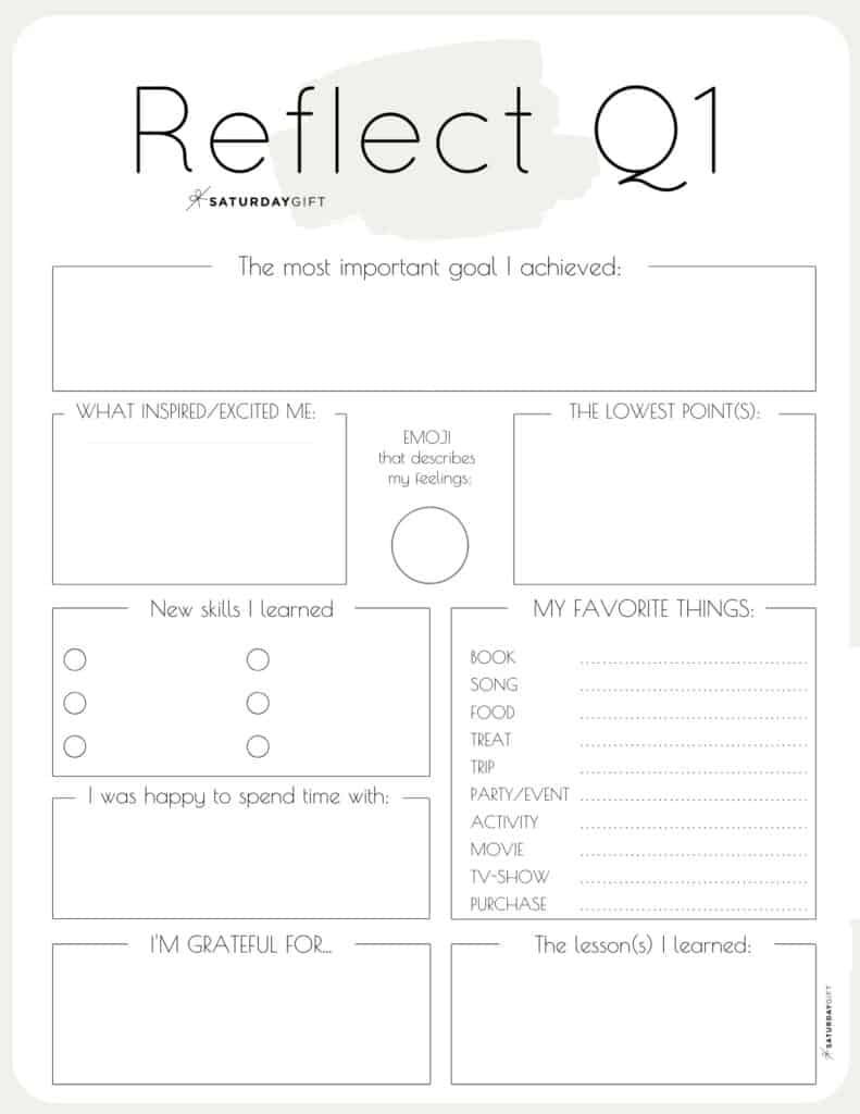 Review your life with the quarter one beige reflection worksheet {Free Printables} | SaturdayGift