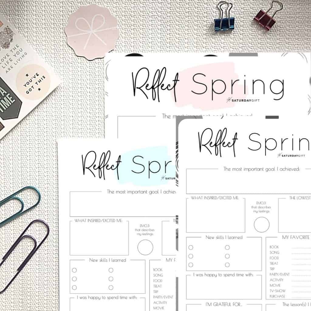 Review your life with the spring reflection worksheet {Free Printable} | SaturdayGift