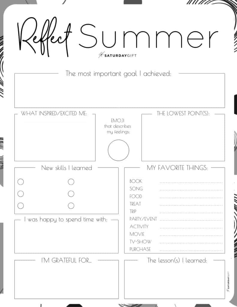 Review your life with the summer reflection worksheet {Free Printable} black & white PDF