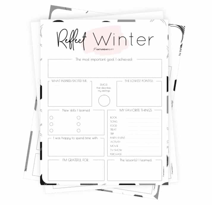 Review your life with the winter reflection worksheet {Free Printable}