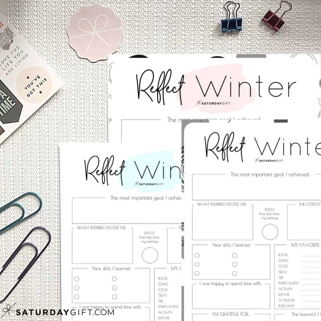 Pink, blue and black & white reflection worksheets for winter