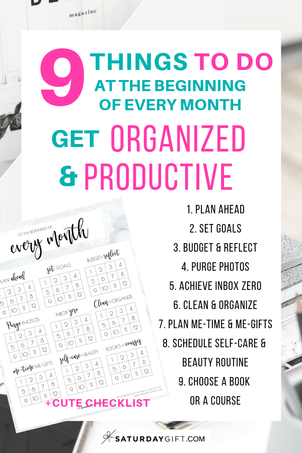 9 Things to do at the beginning of every month to be more productive and organized + free checklist | free printable | Pretty printable | Planner sheet | Goal Planning | Reflect your month | Month in review | Goal Achieving | Goal getter | Self Development | Personal Development | Organization | Planning | How to achieve goals | Be more productive | Stay organized | SaturdayGift | Saturday gift #SaturdayGift