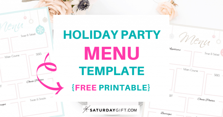 Holiday Party Menu Template {Free Printable}