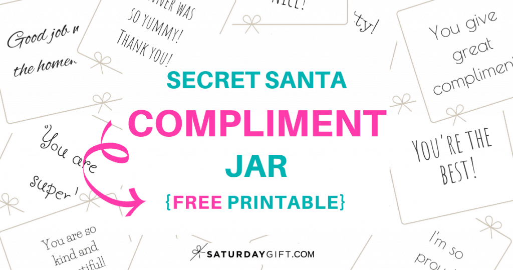 photograph about Free Printable Advent Calendar Template named Top secret Santa Compliment Jar Absolutely free Printables SaayGift