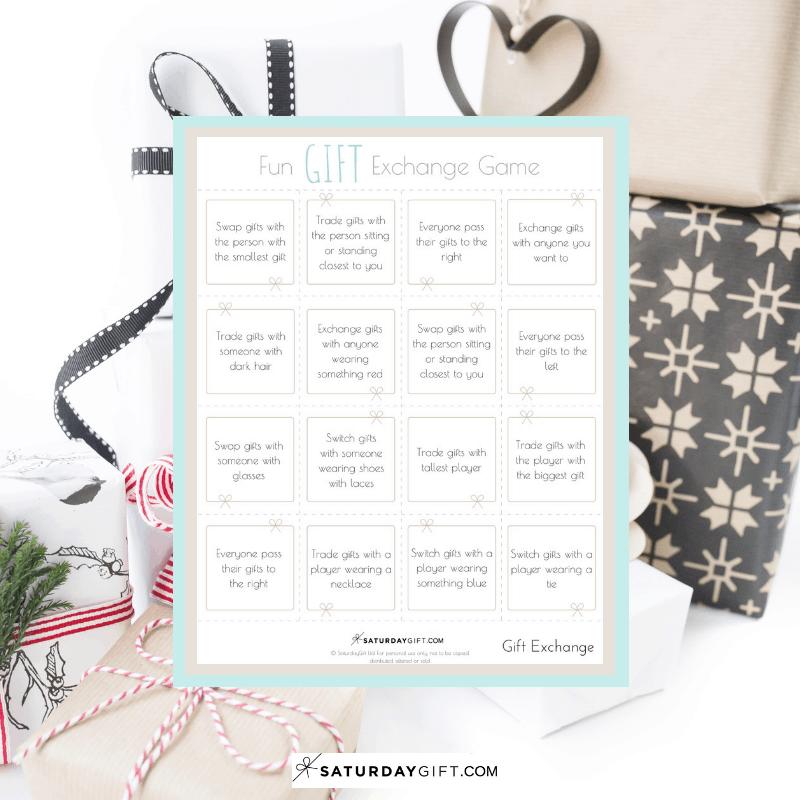 Fun Gift Exchange Game - free printable | Happy Holidays | Gift Exchange | Advent Calendar | Pretty Printables | Free Printables | White Elephant | Secret Santa | SaturdayGift | Saturday gift #Saturdaygift #25merrydays