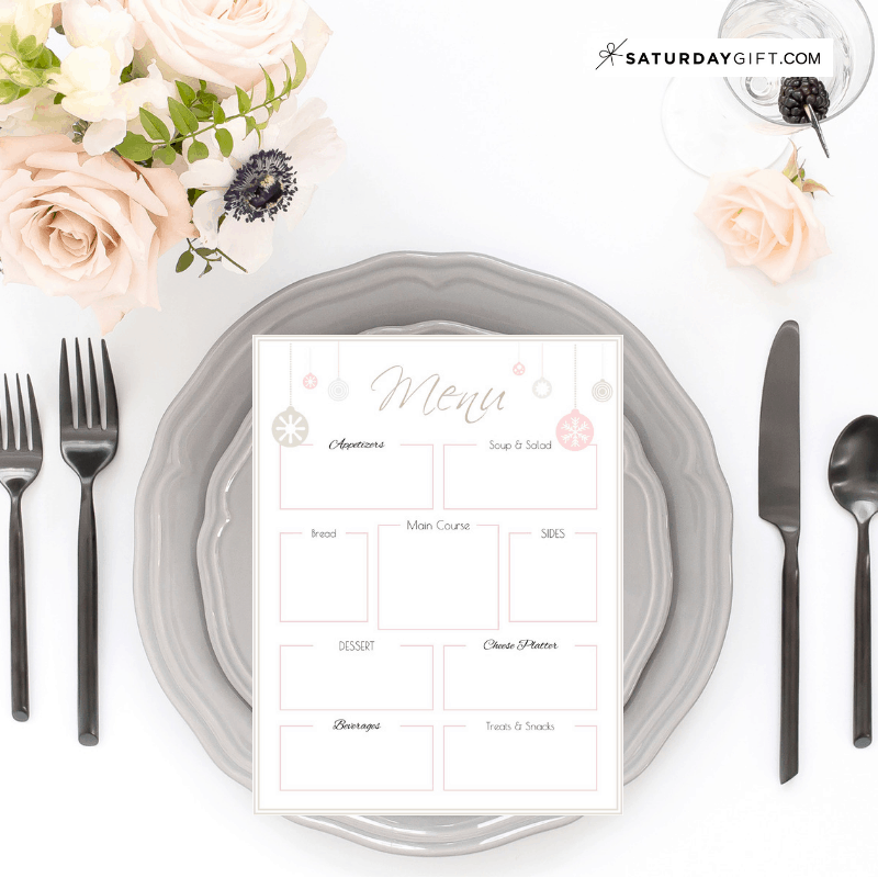 Holiday Party Menu template - free printable. | Feel good printables | Pretty Printables | Free printable | Planner sheet | Planner page | Party planning | Party Menu template | SaturdayGift | Saturday gift #SaturdayGift