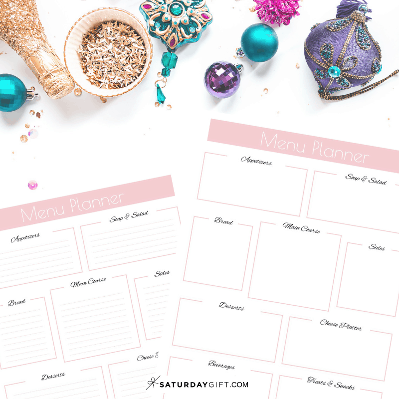 Pretty and Practical Party Menu Planner page - free printable. | Free printables | Pretty Printables | Planner sheet | Planner page| Party planning | Organized | SaturdayGift | Saturday gift #SaturdayGift