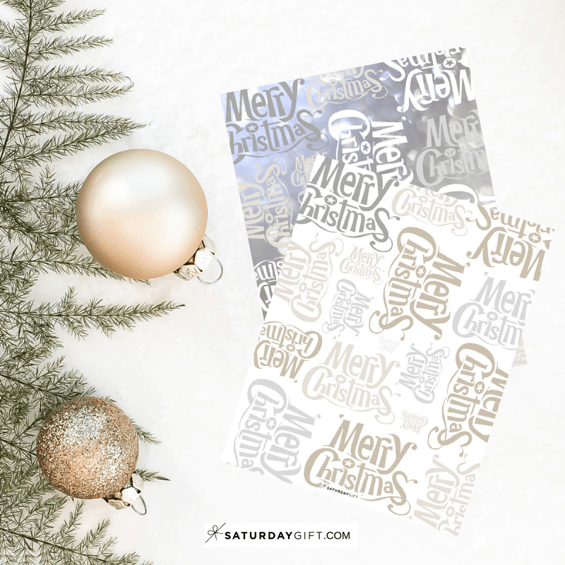Printable Merry Christmas wrapping paper - free printable | 25MerryDays | Advent Calendar | Holiday Printables | Christmas Printables | Pretty Printables | Pretty and elegant | SaturdayGift | Saturday gift #Saturdaygift #Saturdaygiftcalendar
