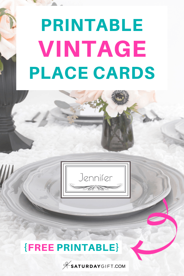 Printable vintage place cards - free printable. | Feel good printables | Pretty Printables | Free printable | Tags and labels | Name Tags | Party Planning | SaturdayGift | Saturday gift #SaturdayGift