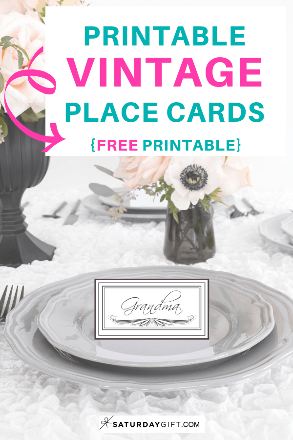 Printable vintage place cards - free printable. | Pretty Printables | Free printable | Tags and labels | Name Tags | Party Planning | SaturdayGift | Saturday gift #SaturdayGift