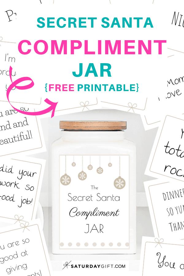 photo relating to Secret Santa Printable referred to as Magic formula Santa Compliment Jar Totally free Printables SaayGift