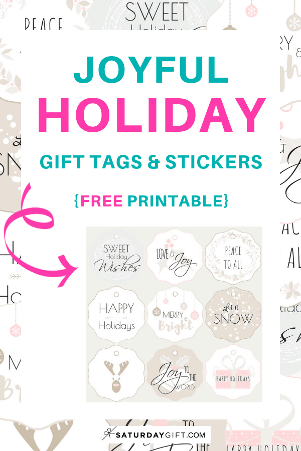 Joyful Holiday Gift Tags & Stickers - free printable | Advent Calendar | Pretty Printables | Holiday Printables | Christmas Printables | Gift tags | Secret Santa | SaturdayGift | Saturday gift #Saturdaygift #25merrydays
