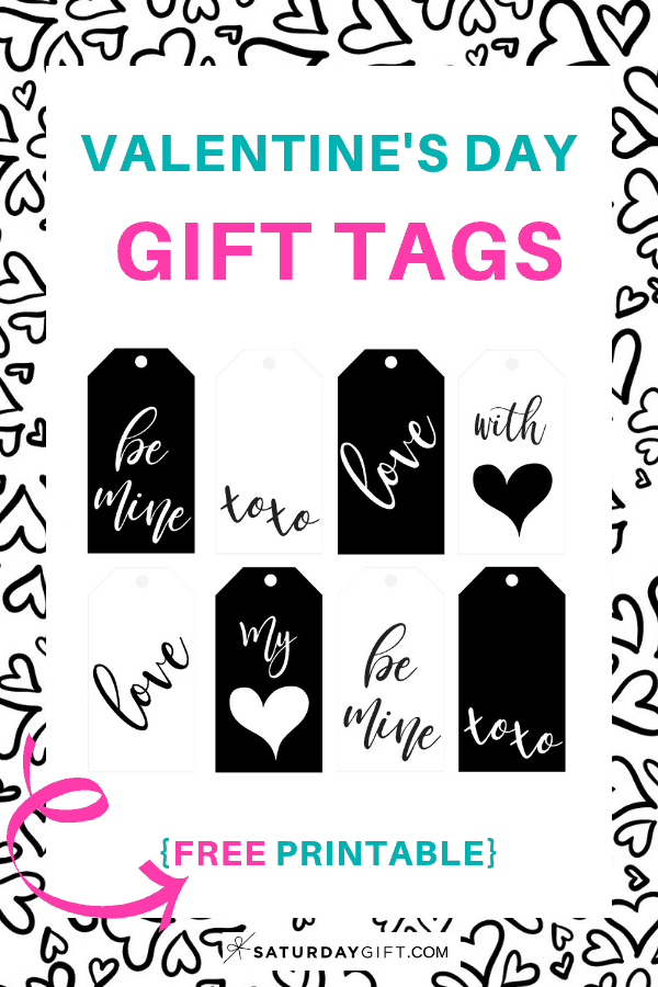 graphic regarding Printable Valentines Black and White titled Black and White Valentines Working day Reward Tags No cost Printable
