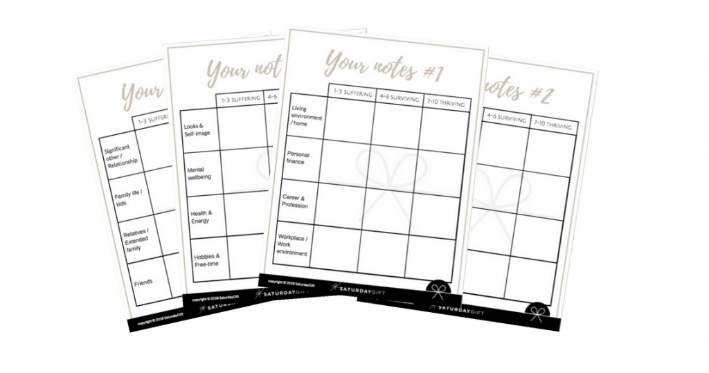 SaturdayGift - Wheel of Life - notes templates