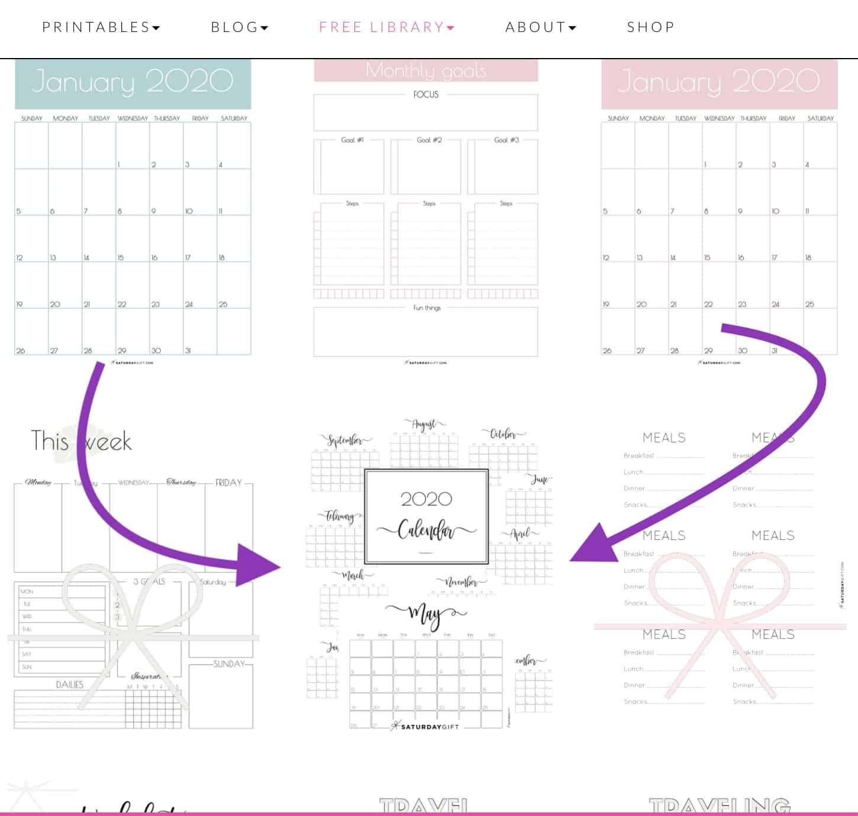 2020 horizontal elegant calendar in the library