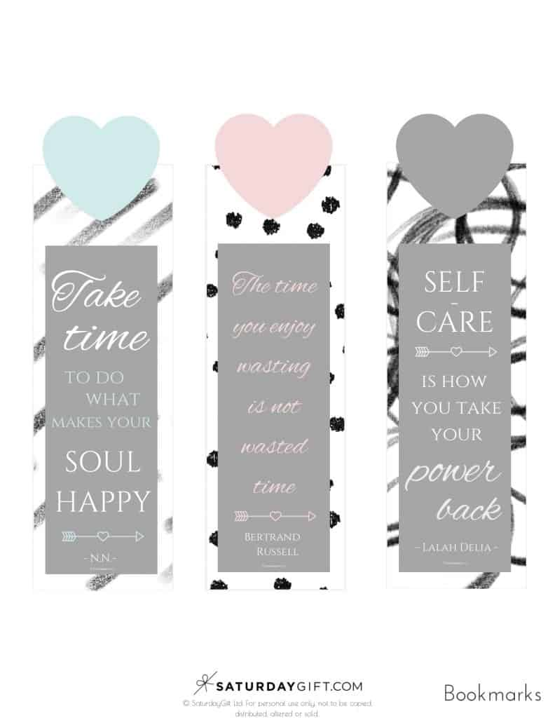 Printable bookmarks with self-care quotes