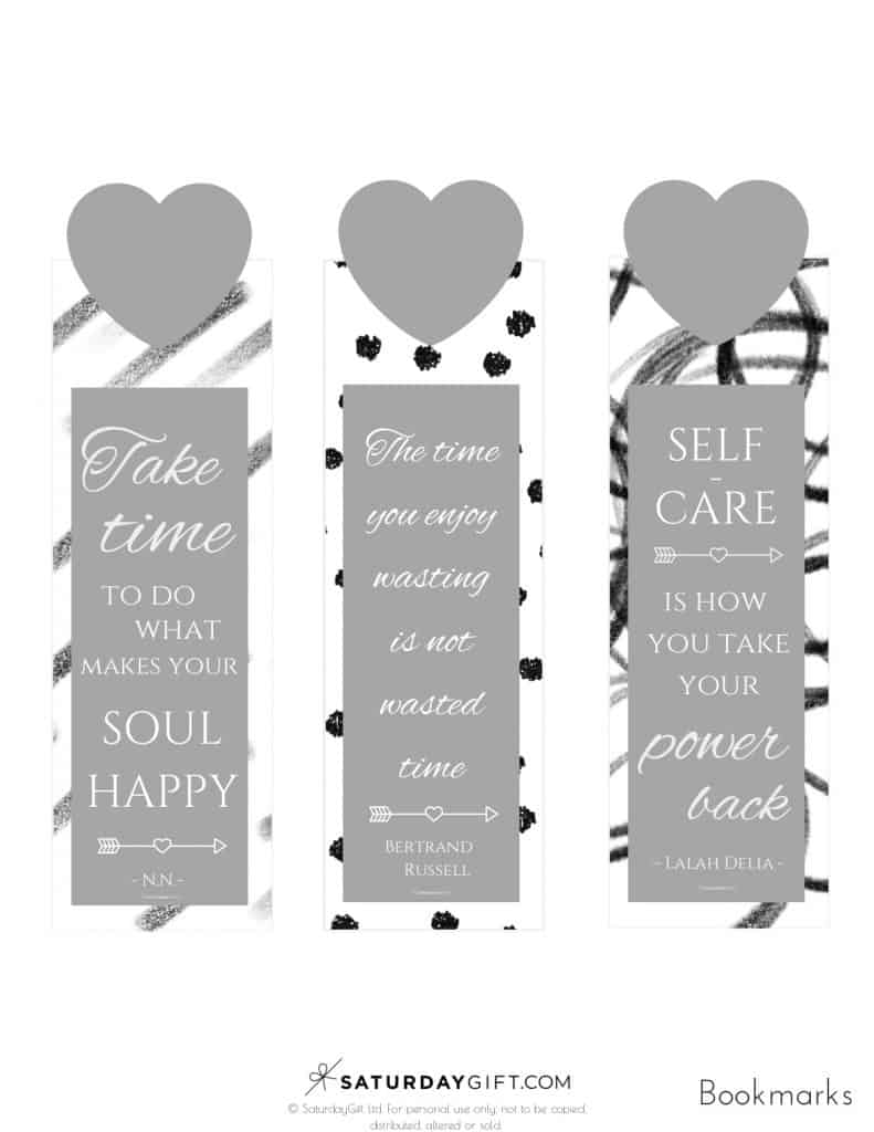 Printable self-care bookmarks black and white