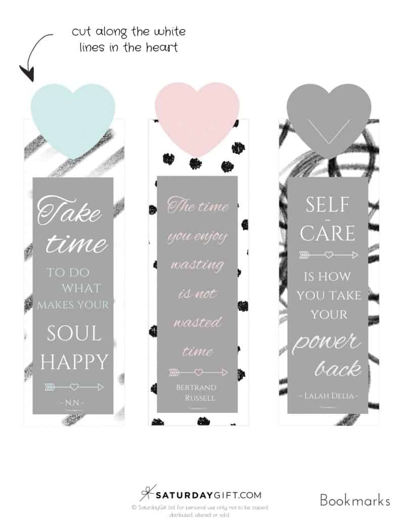 photograph relating to Free Printable Quotes Pdf called Lovable Bookmarks With Self Treatment Quotations +Totally free Printables
