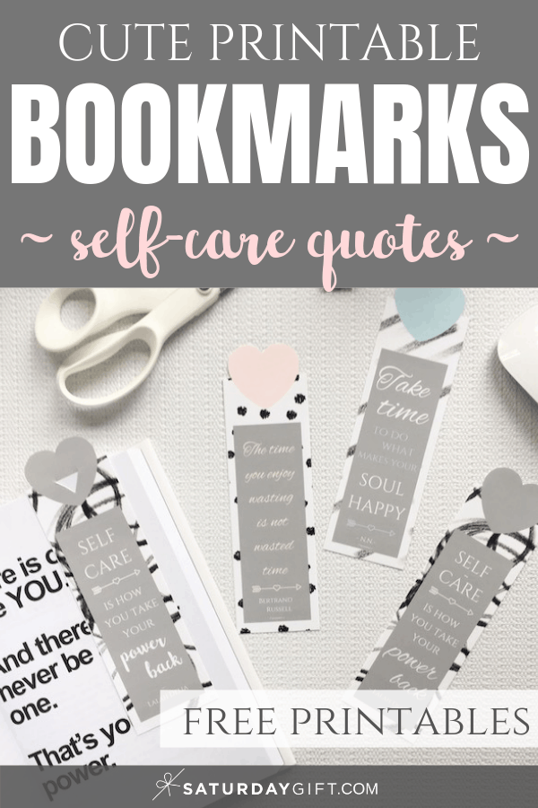 Pretty printable bookmarks with self-care quotes Pinterest Image