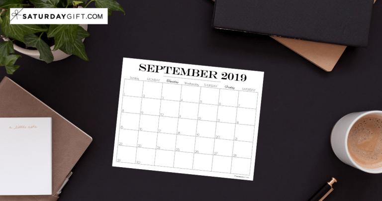 Printable September 2019 Calendar {Free & pretty Printables}