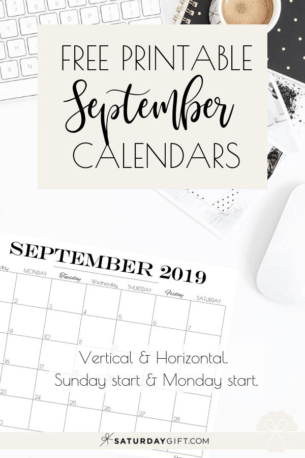 Pretty printable September 2019 Calendar Vertical & horizontal Sunday Start Monday start Dated {Free Printables}   SaturdayGift
