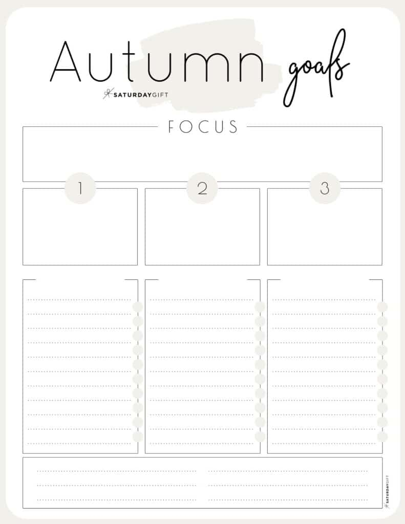 Beige Autumn goals worksheet