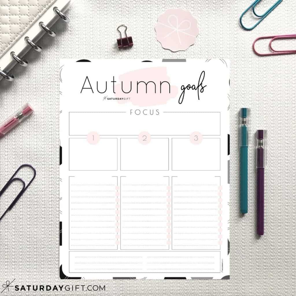 Pink worksheets to set and achieve your autumn goals