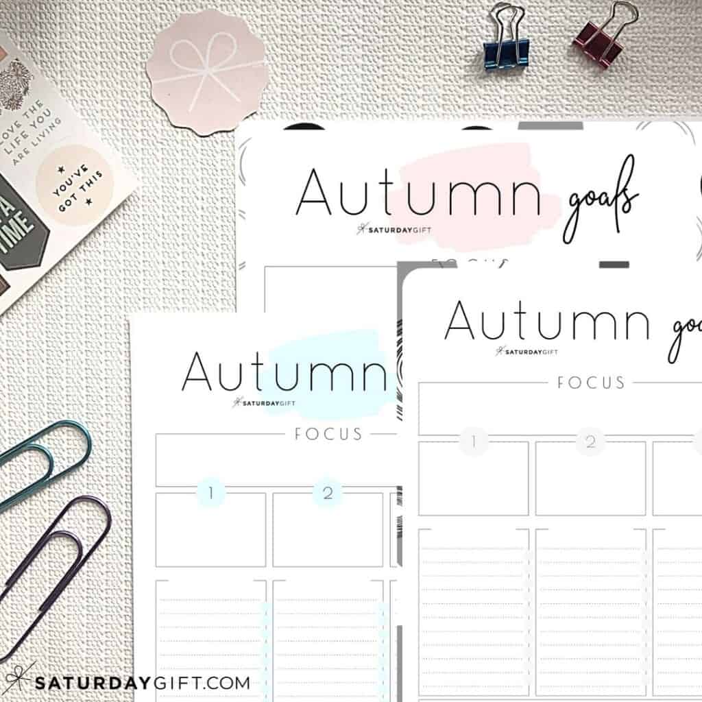 Pink, Blue and Black& White worksheets to set and achieve your autumn goals