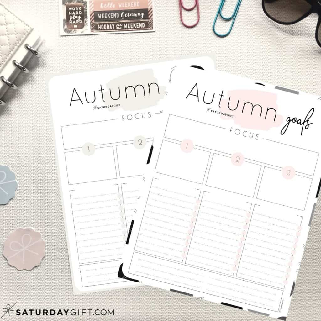 Beige and pink worksheets to set and achieve your autumn goals
