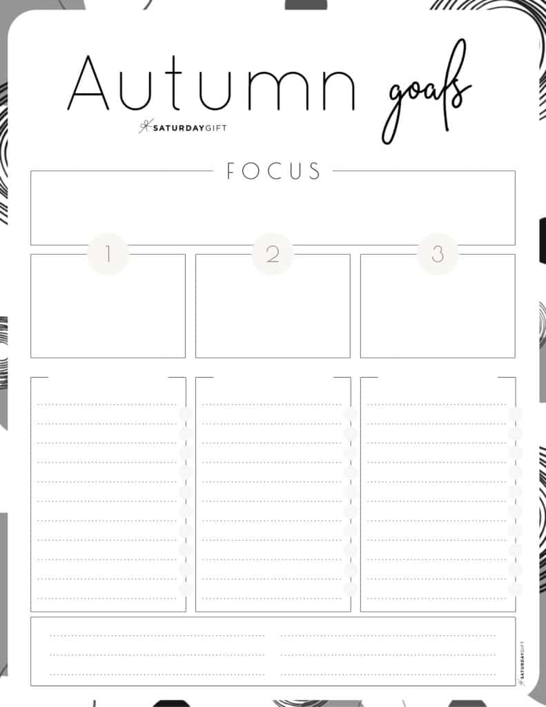 Black & White Autumn goals worksheet