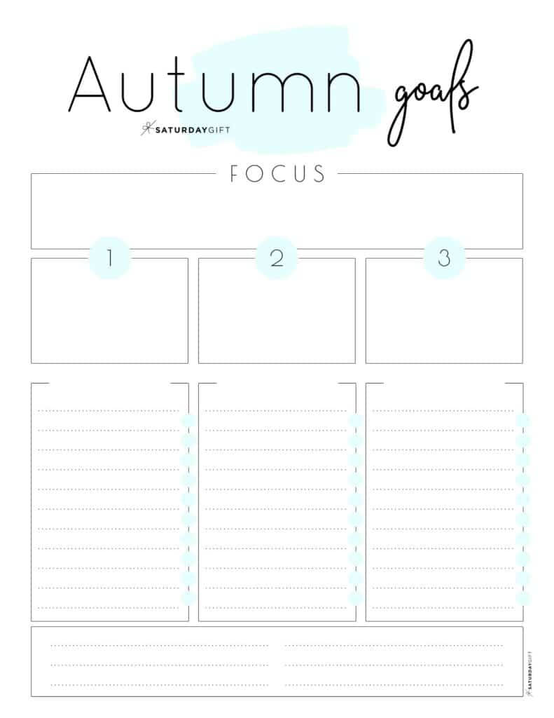 Blue Autumn goals worksheet