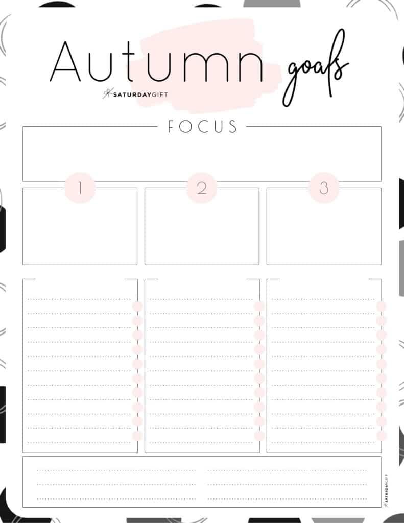 Pink Autumn goals worksheet