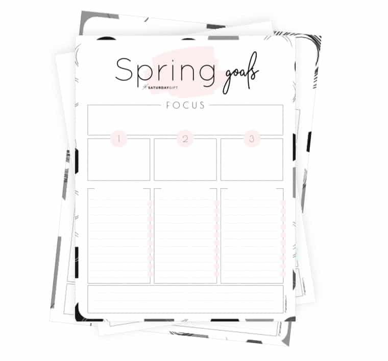Set and achieve spring goals worksheet {Free Printable} | SaturdayGift