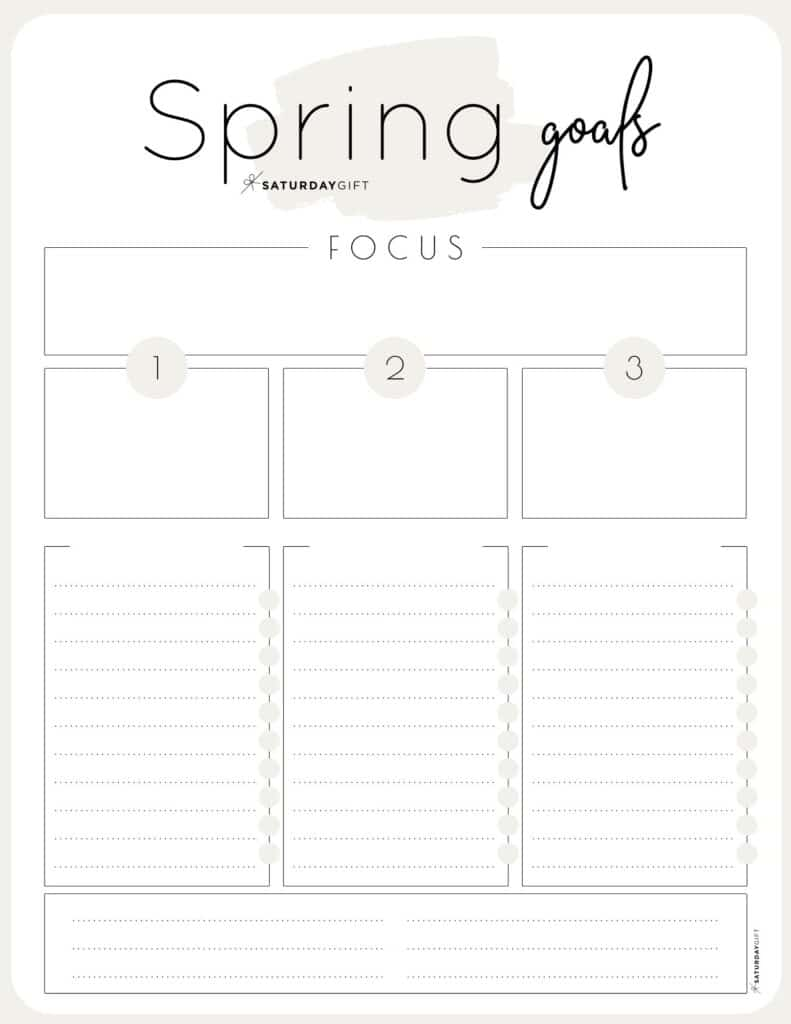 Set and achieve spring goals worksheet {Free Printable} Beige | SaturdayGift