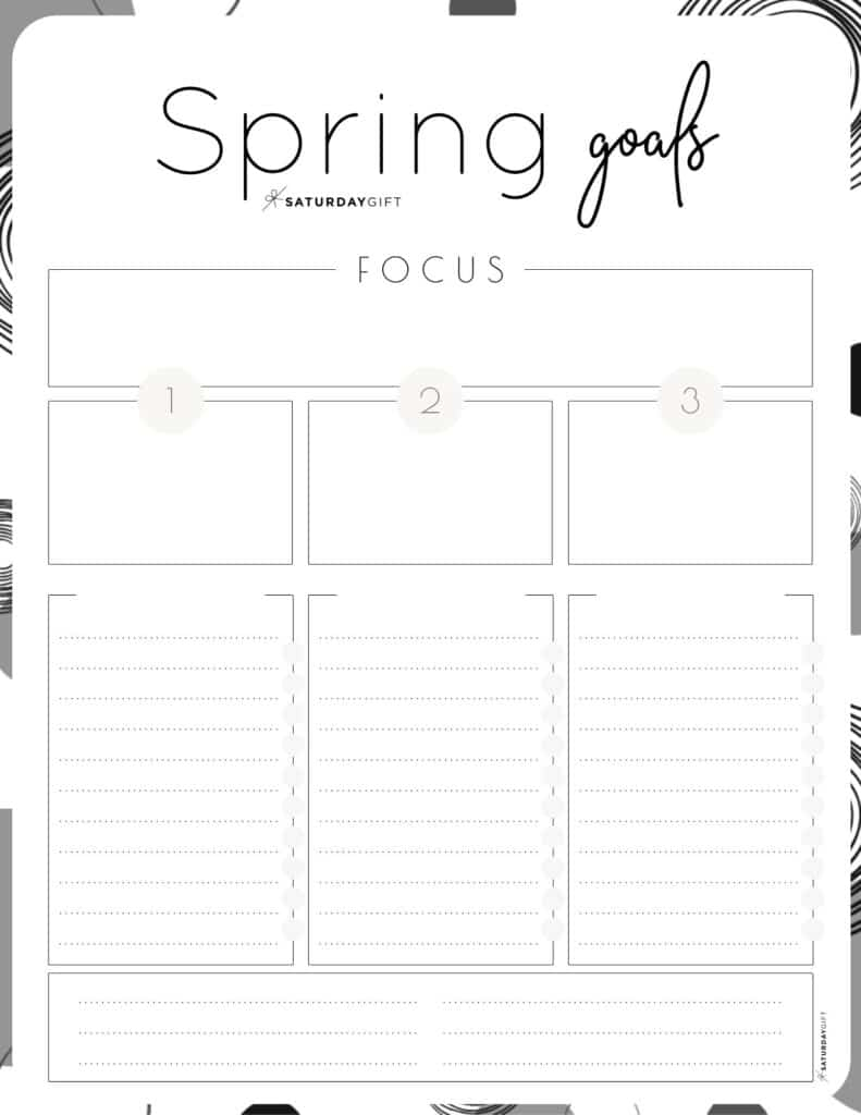 Set and achieve spring goals worksheet {Free Printable} black & white | SaturdayGift