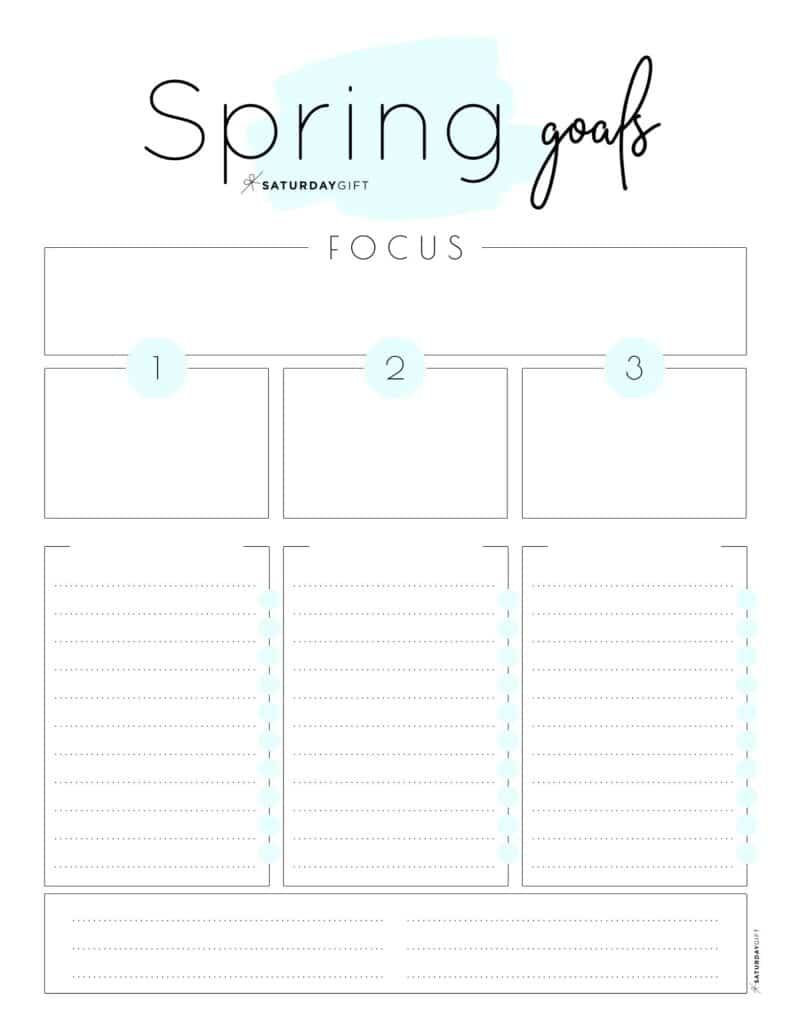 Set and achieve spring goals worksheet {Free Printable} blue | SaturdayGift