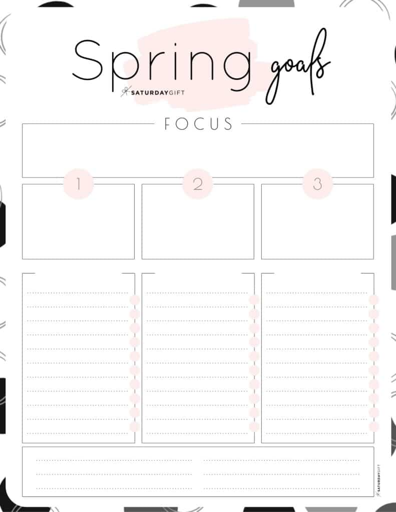 Set and achieve spring goals worksheet {Free Printable} pink | SaturdayGift